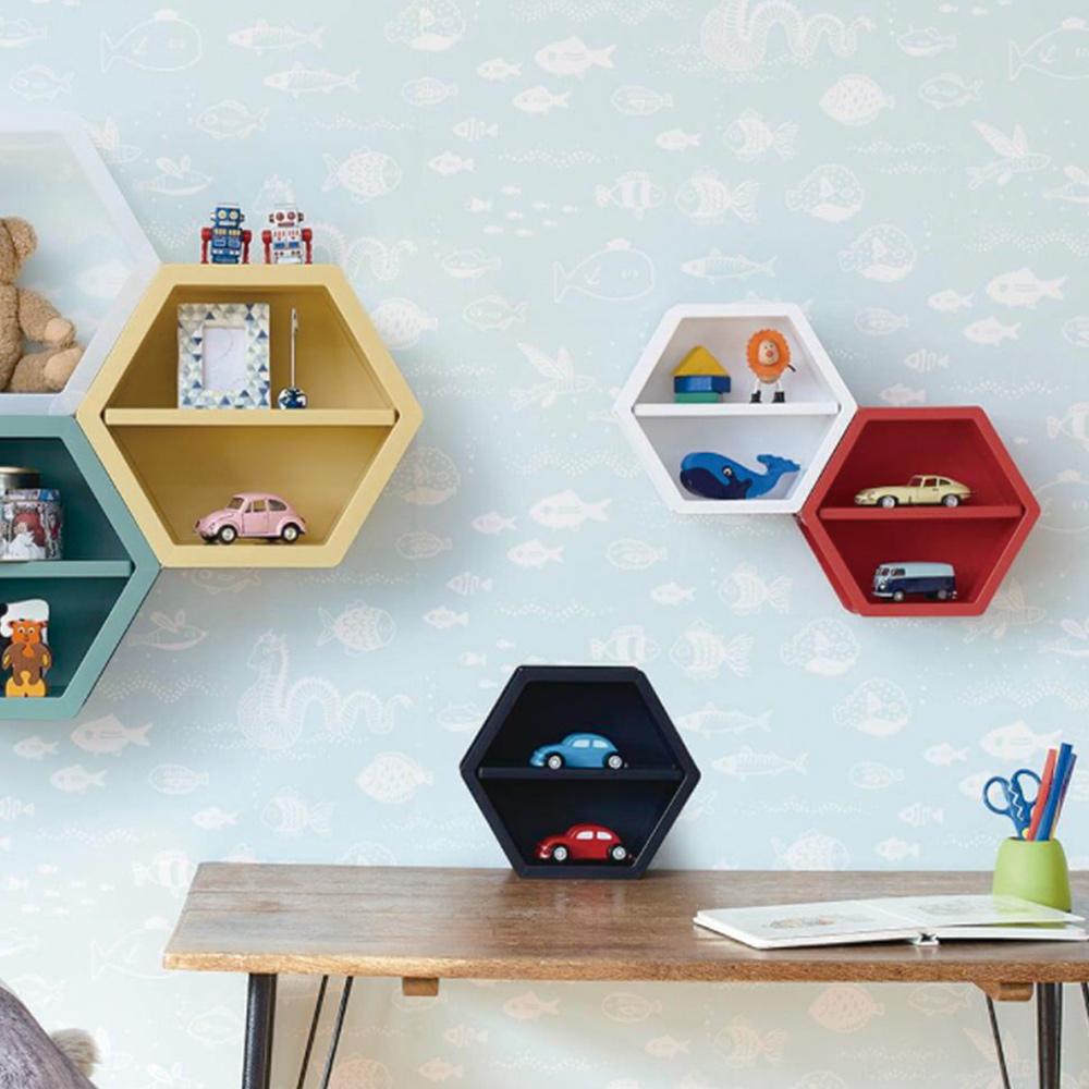 天馬|more+ 六角幾何壁掛/桌上/層疊三用收納盒-M-3入-多色可選