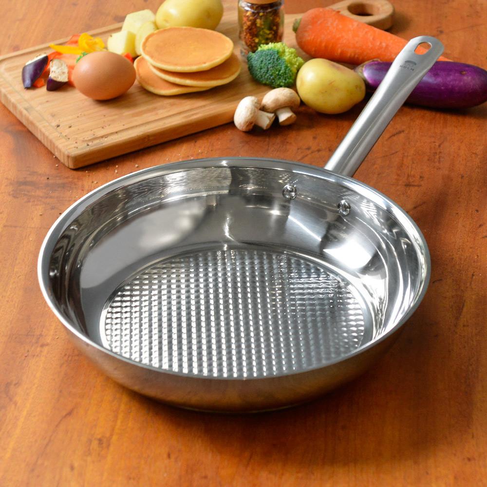 HOLM|單柄耐磨不鏽鋼平底煎鍋-24cm