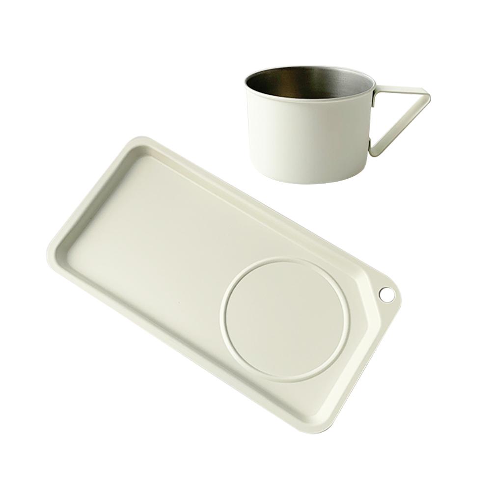 高桑élfin|日製輕食刻杯盤2件組(輕鋁餐盤+18-8不銹鋼馬克杯)