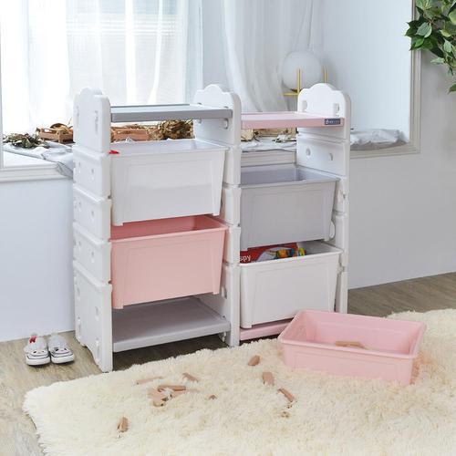 +O家窩 伊格玩具直取收納雙櫃組(4大1小收納箱)-DIY(2色可選)