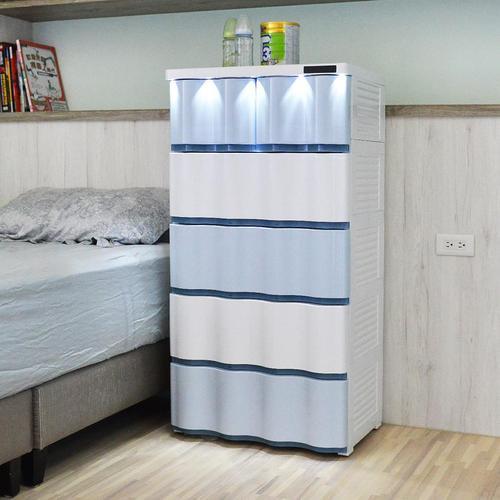 +O家窩|晨光波紋觸控LED燈五層抽屜收納櫃-DIY-3色可選