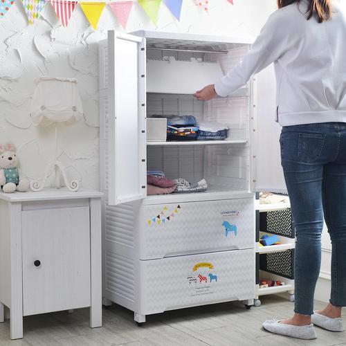 +O家窩 65面寬-特大貝格兒童吊掛衣櫃(摺疊層板) -DIY-4色可選