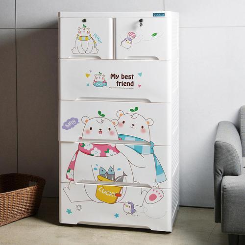 +O家窩|65面寬-特大款安圖森五層收納櫃-熊愛甜蜜-DIY