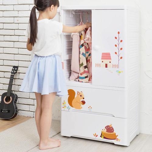 +O家窩 貝格雙開門式兒童吊掛衣櫃-松鼠艾瑞-DIY