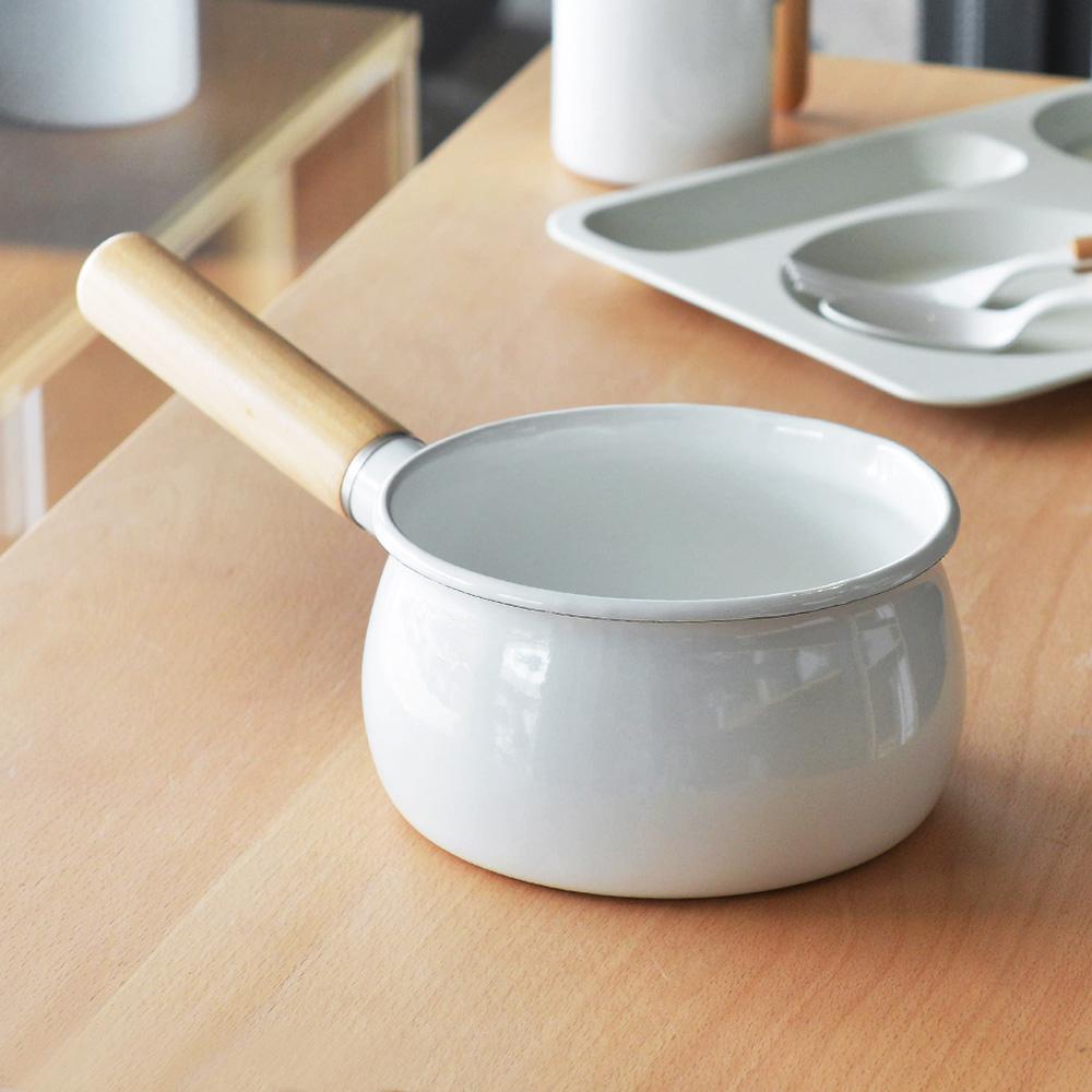 珍珠金屬 木柄琺瑯牛奶鍋-15cm