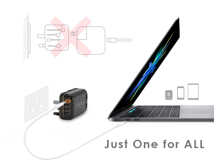 CARD|首創USB Type-C 多埠全球旅用萬國插座 (黑色)