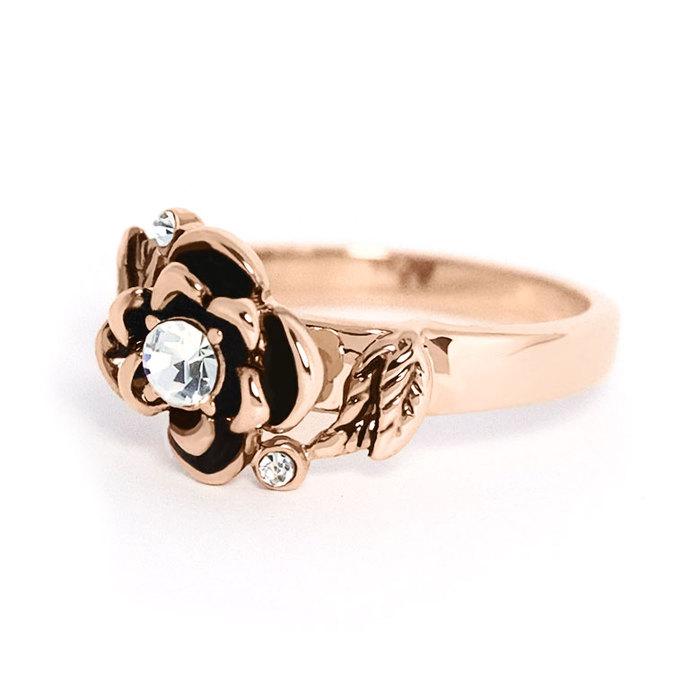Miaarte|玫瑰金水晶立體玫瑰花朵戒指
