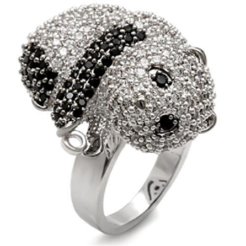 Miaarte|可愛貓熊設計蘇聯鑽戒指