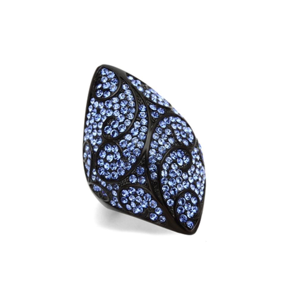 Miaarte|葉紋設計頂級水鑽漆黑戒指