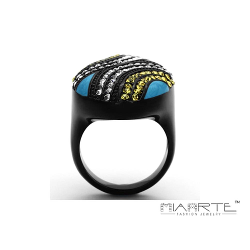 Miaarte|不銹鋼多彩水鑽造型戒指