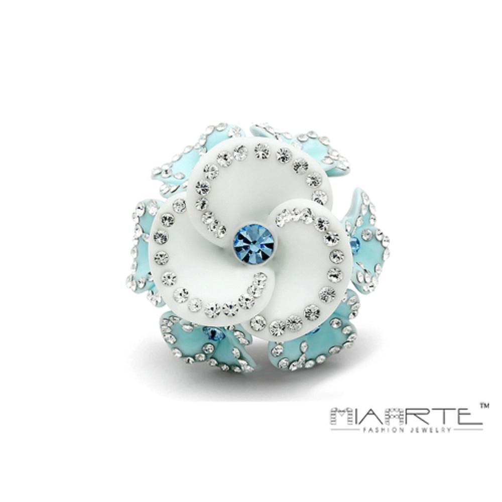Miaarte|亮面貼鑽複合材質花戒指