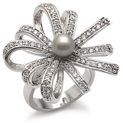 Miaarte 珍珠花朵緞帶造型鍍銠戒指