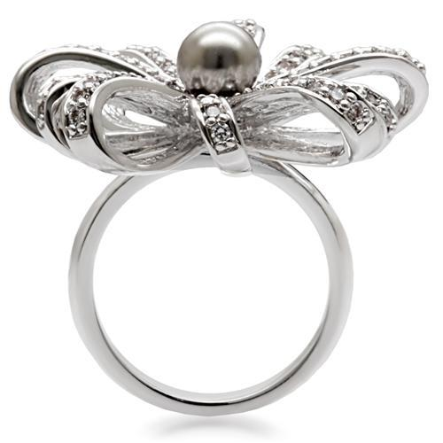 Miaarte|珍珠花朵緞帶造型鍍銠戒指