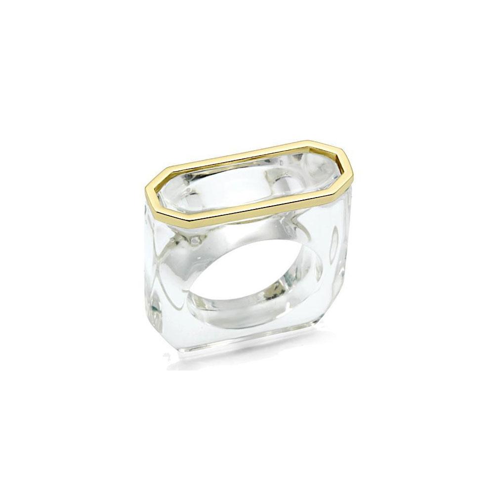 Miaarte|金屬鑲邊冰晶造型戒指