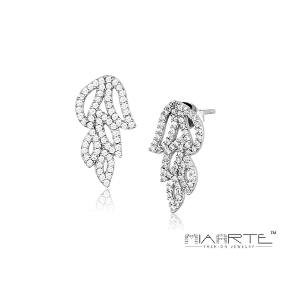 Miaarte|925純銀鋯石葉片垂飾耳環