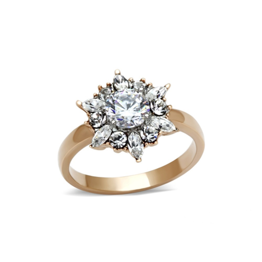 Miaarte 玫瑰金蘇聯鑽光暈訂婚戒指
