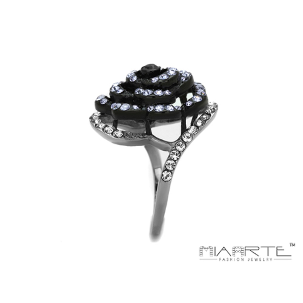 Miaarte|時尚黑玫瑰水鑽戒指
