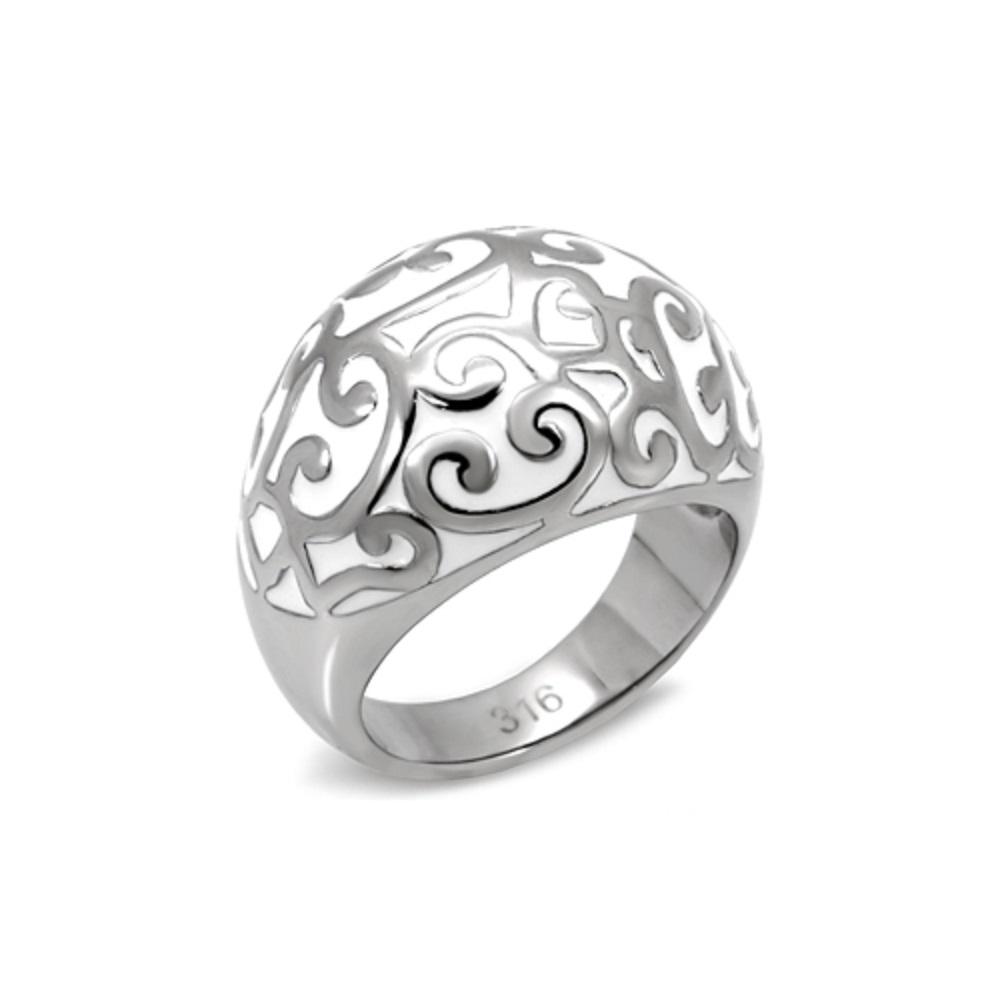 Miaarte|銀白優雅花紋戒指