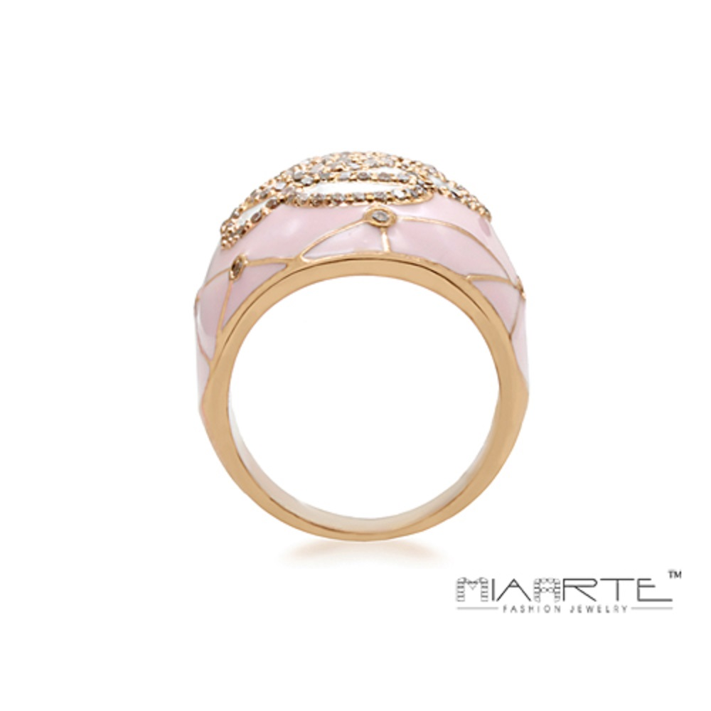 Miaarte 粉紅金邊鑲鑽山茶花造型戒指
