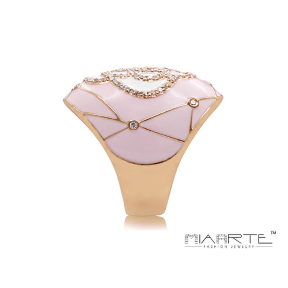 Miaarte|粉紅金邊鑲鑽山茶花造型戒指