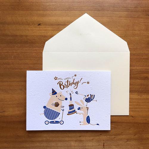 WOOPAPERS|種子紙生日卡 Happy Birthday (驢子、雞、熊)