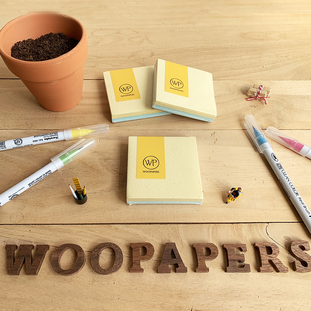 WOOPAPERS 種子便條紙磚 雙色款 - Spring (奶油黃、淺藍)