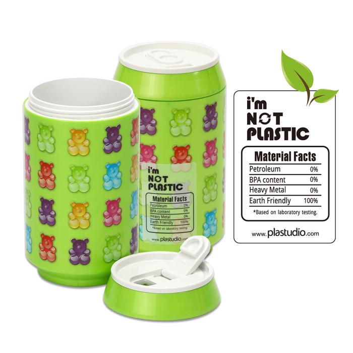 (複製)plastudio|玉米材質環保杯-Eco Can-280-軟糖熊-綠色