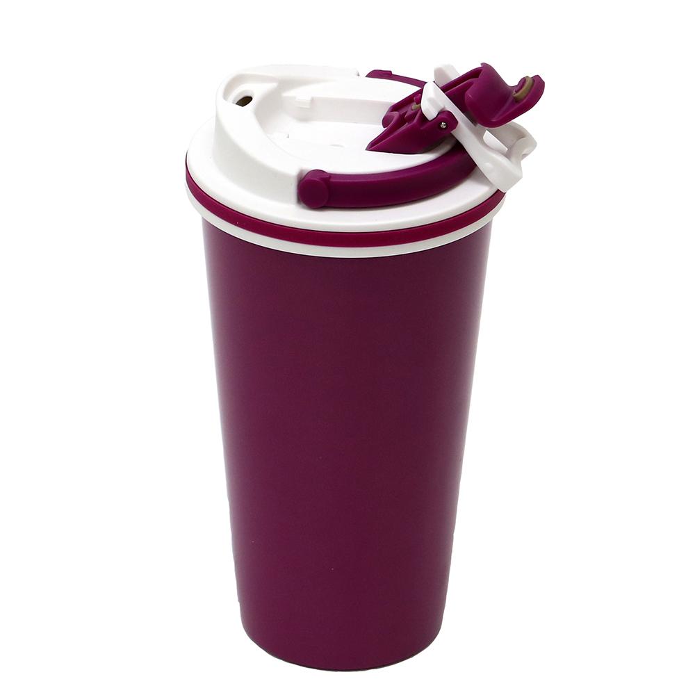 plastudio 拉拉扣不鏽鋼保溫杯-500ml(櫻桃紅)