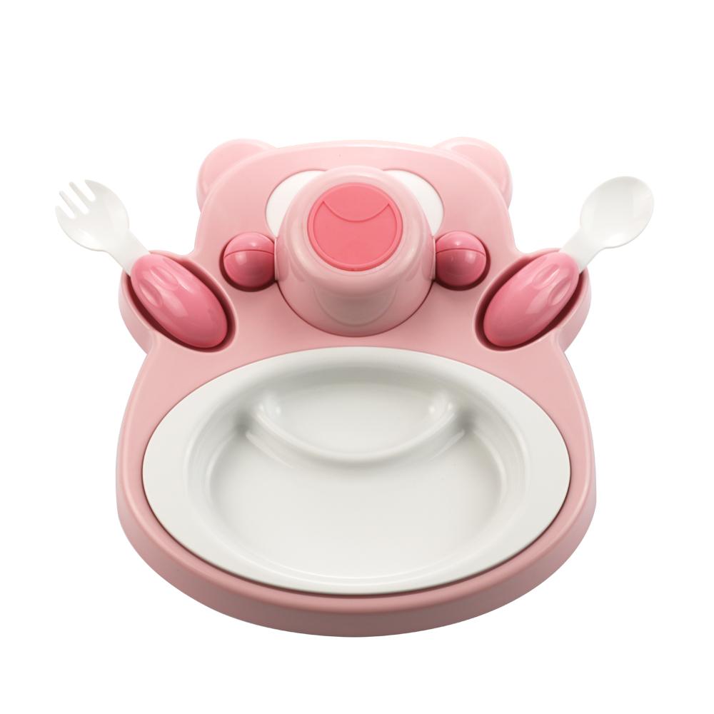 plastudio|玉米兒童餐具-Honey Bear-粉紅