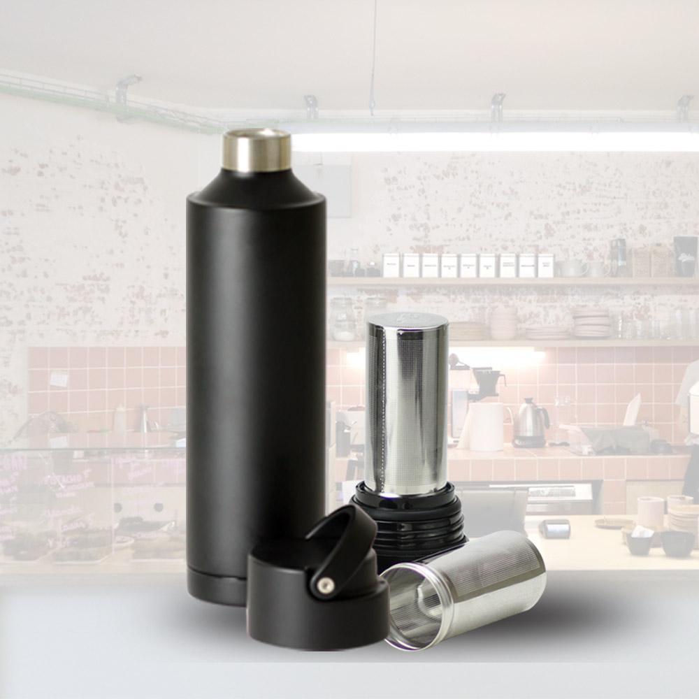 plastudio|Be Bottle 多功能濾網不銹鋼保溫杯-黑色