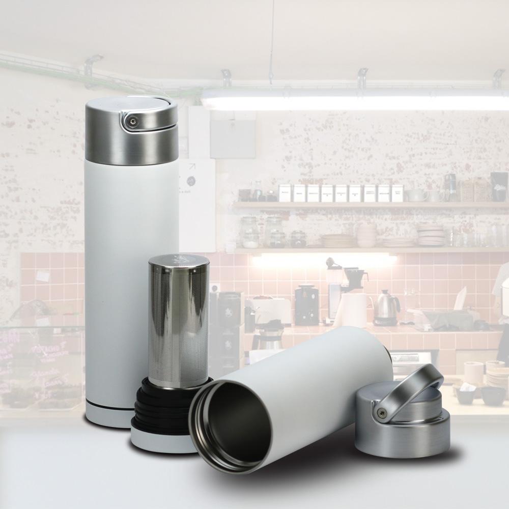 plastudio|Be Bottle 多功能濾網不銹鋼保溫杯-白色