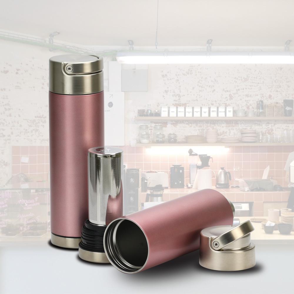 plastudio|Be Bottle 多功能濾網不銹鋼保溫杯-玫瑰金