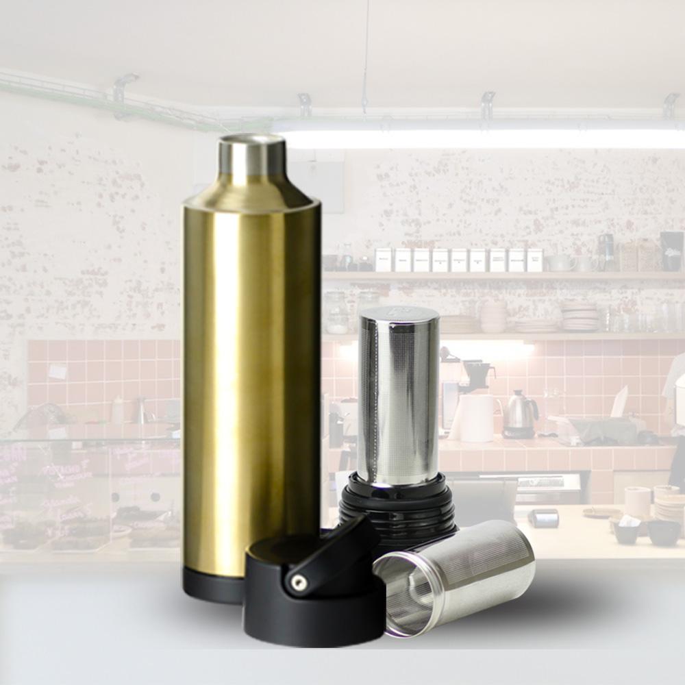 plastudio|Be Bottle 多功能濾網不銹鋼保溫杯-金色