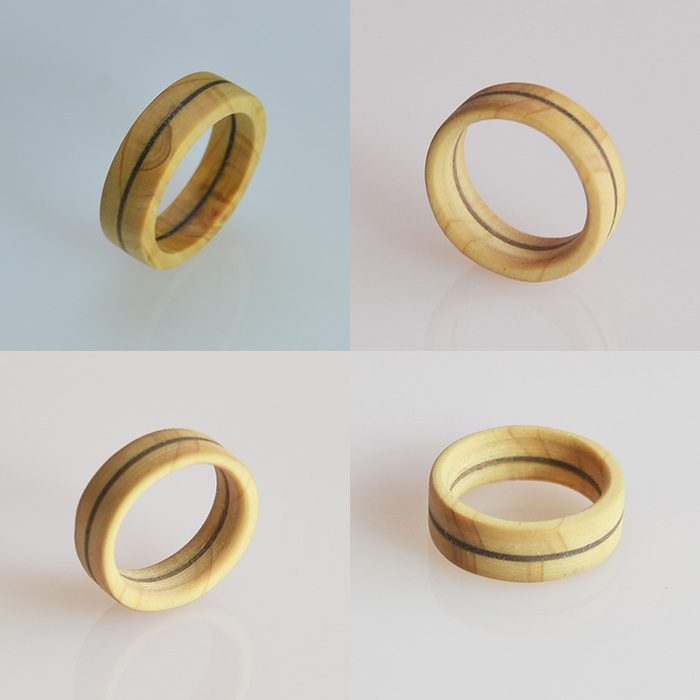 一郎木創|無垢木戒指-環(日檜鑲胡桃)