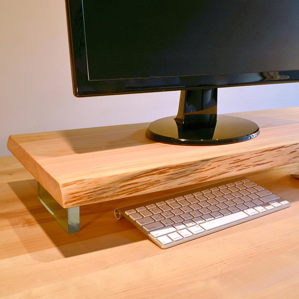 一郎木創|漂浮 桌面螢幕架 原木自然邊層架