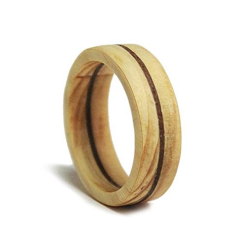 一郎木創|木戒指(環)-日檜鑲胡桃