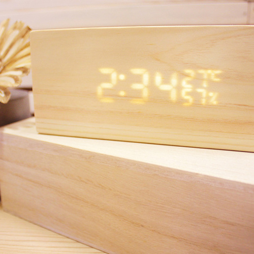 一郎木創 檜木LED時計 木頭時鐘