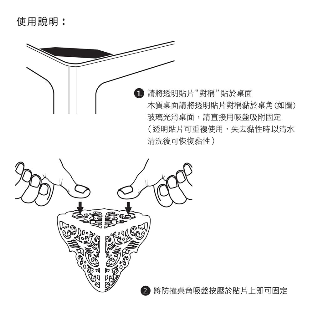 yeduo|祥雲護角-防撞桌角(霧黑色)