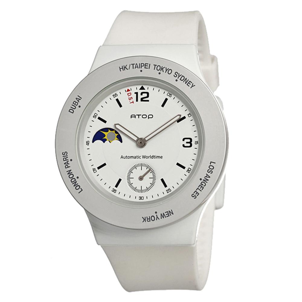 ATOP|世界時區腕錶-8時區系列(白色)