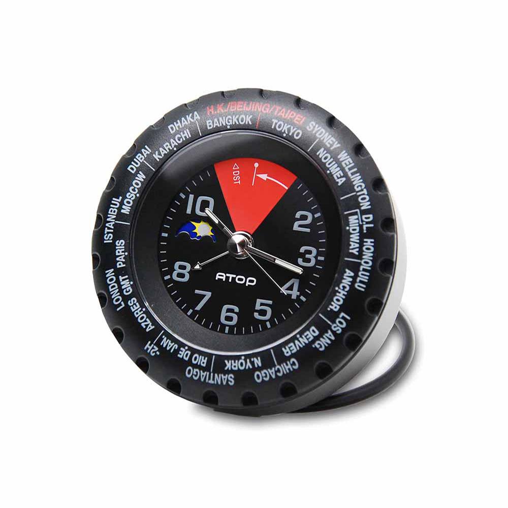 ATOP|世界時區腕錶-24時區馬卡龍鬧鐘(黑紅)