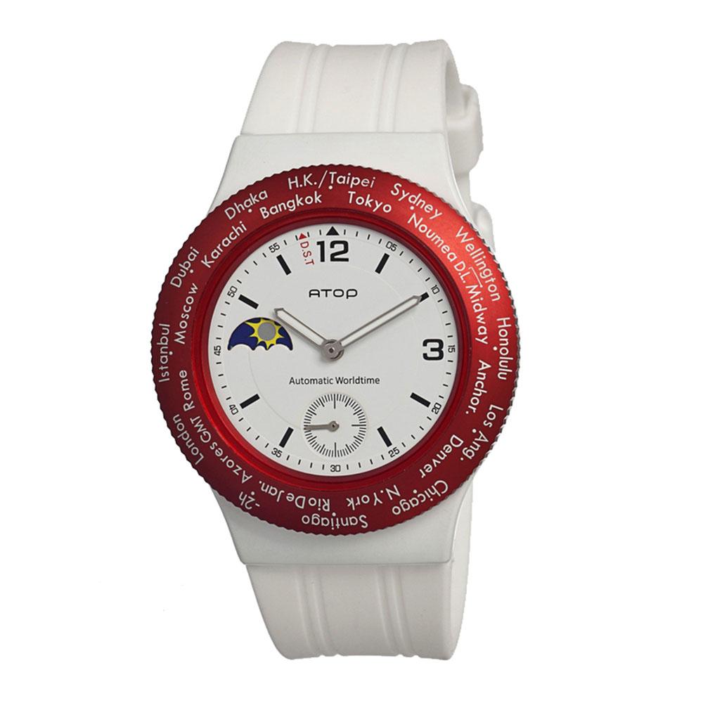 ATOP|世界時區腕錶-24時區運動系列(白紅)