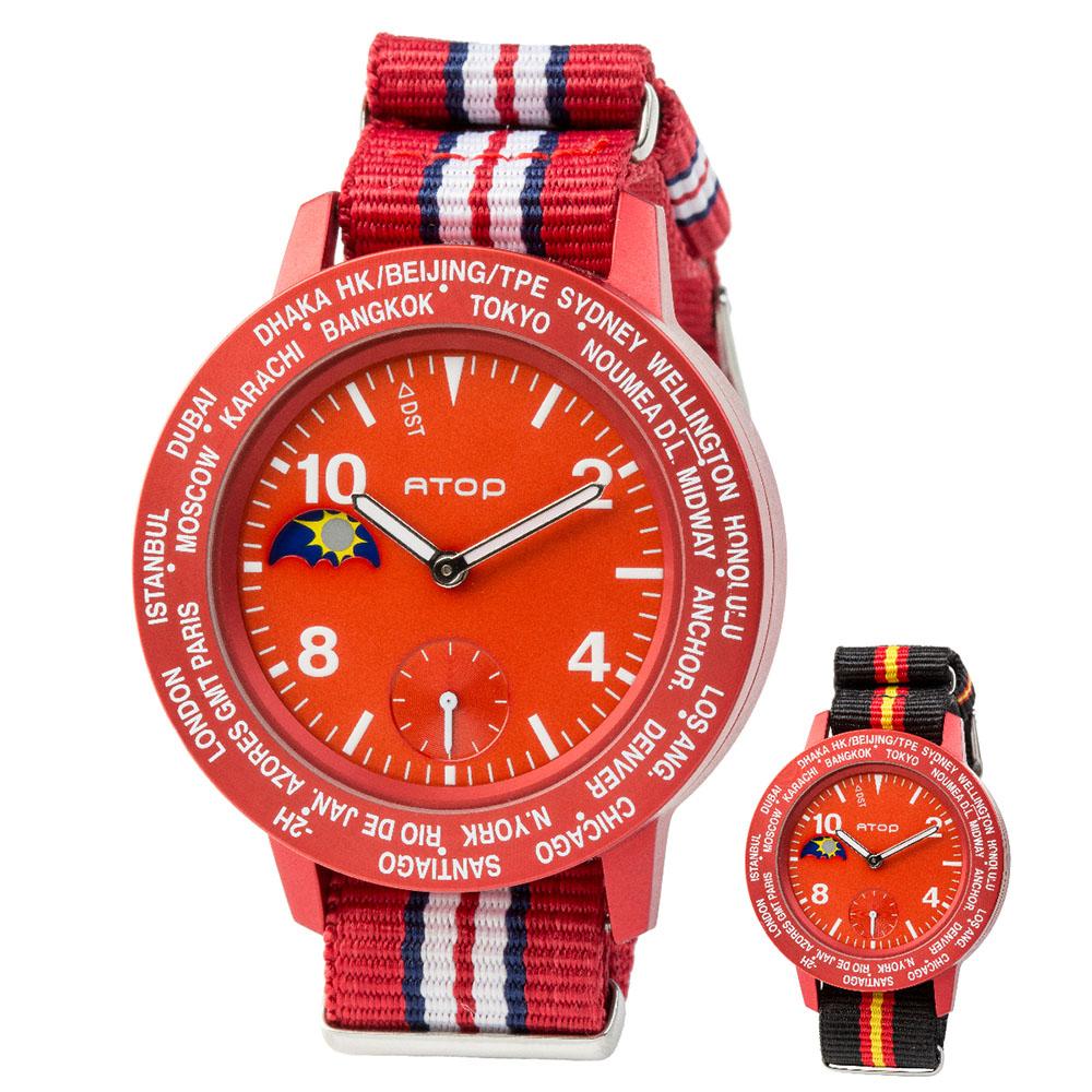 ATOP 世界時區腕錶 - AWA-05-C09C10 紅色
