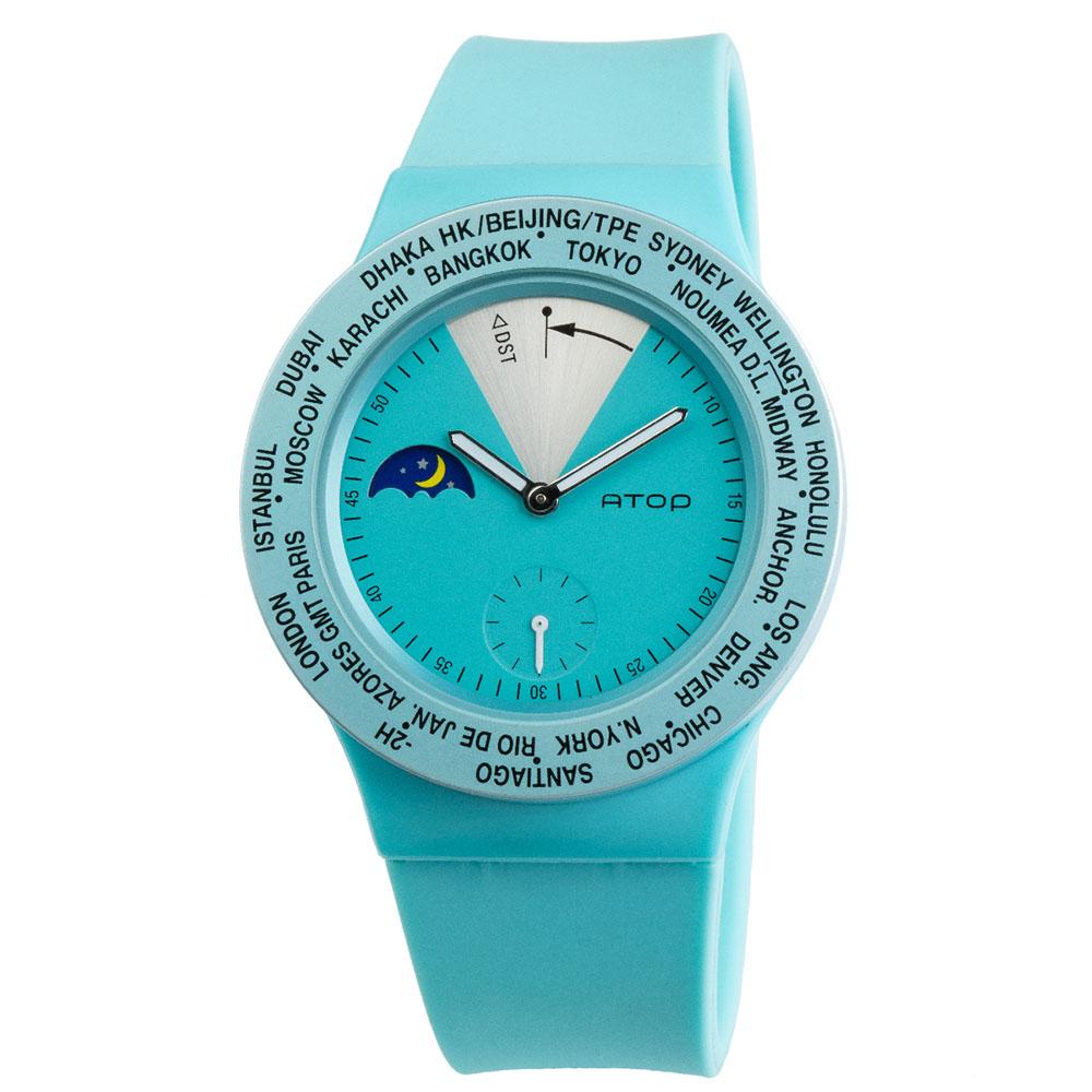 ATOP 世界時區腕錶 - VWA-14 藍綠色