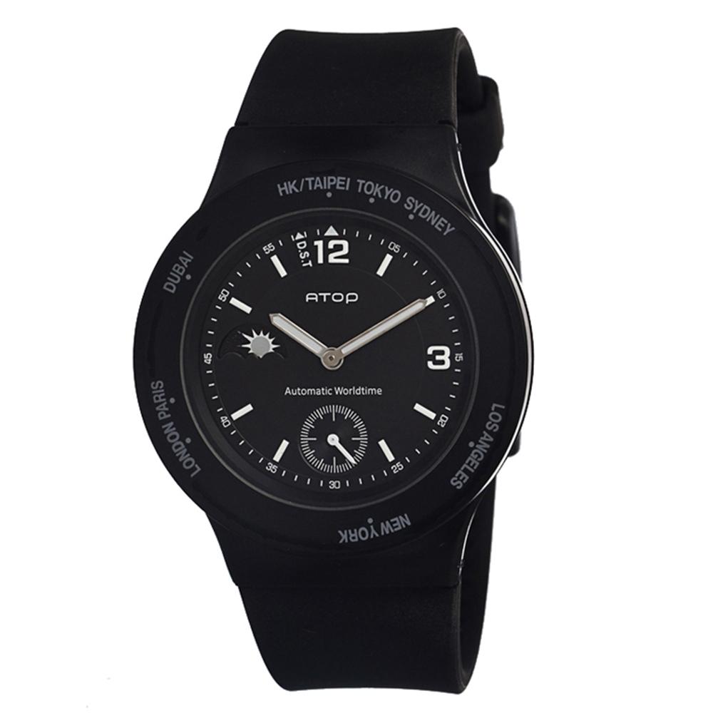 ATOP 世界時區腕錶-8時區系列(黑色)