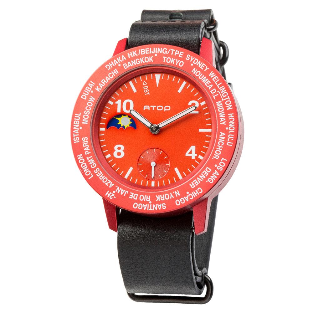 ATOP 世界時區腕錶 - AWA-05-L01 紅色