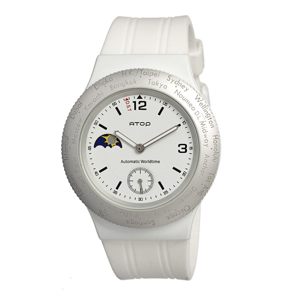 ATOP|世界時區腕錶-24時區運動系列(白銀)
