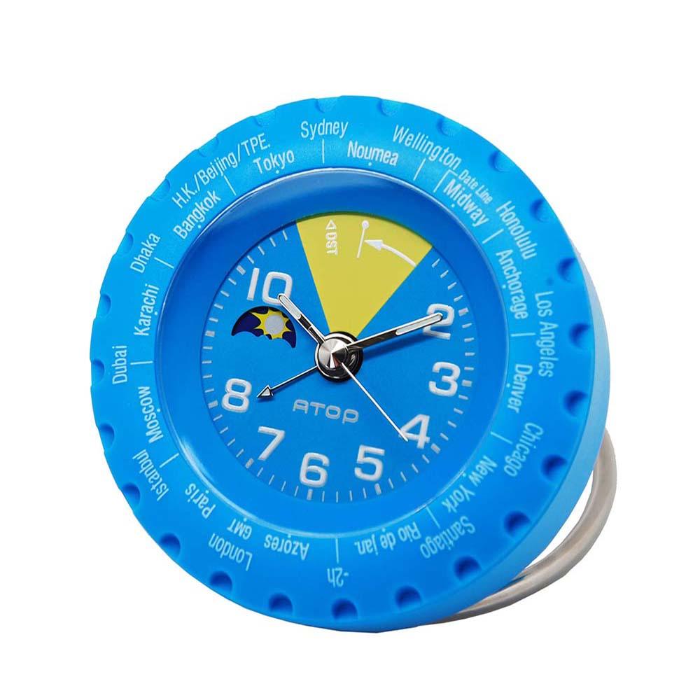 ATOP 世界時區腕錶-24時區馬卡龍鬧鐘(藍色)