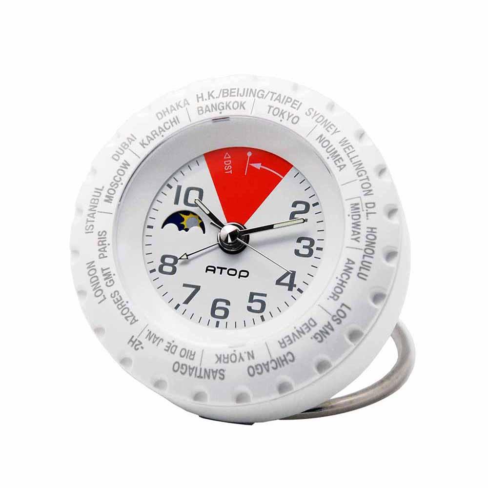 ATOP|世界時區腕錶-24時區馬卡龍鬧鐘(白紅)
