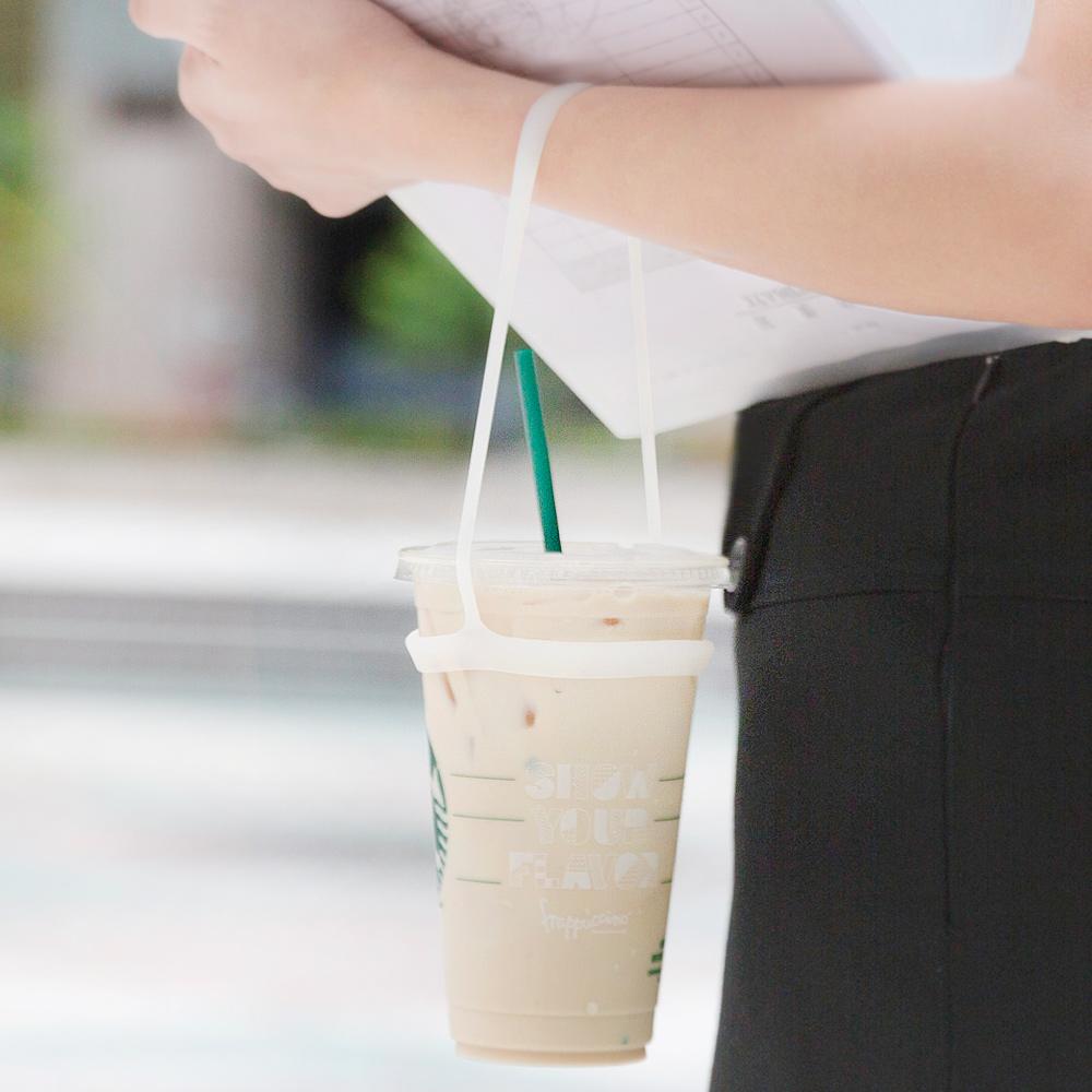 【預購】Bone   Cup Tie 環保矽膠飲料杯綁-簡約白