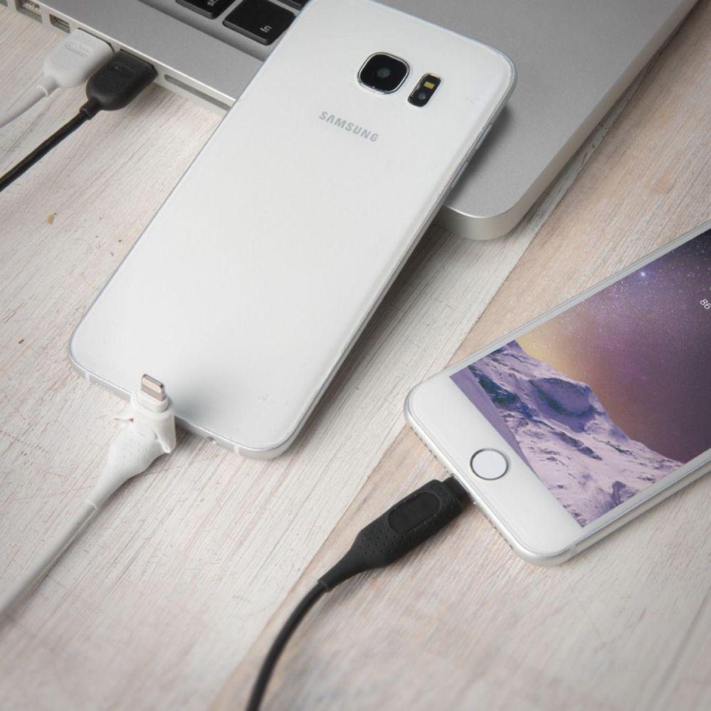 Bone │ 二合一雙頭充電線 ( Lightning / micro USB ) - 黑 / 白